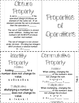 Properties of Operations Foldable