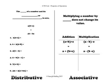 Properties of Operations INB TEKS 6.7D