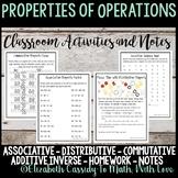 Properties of Operations-Class Activities-Homework-Interactive Notebook