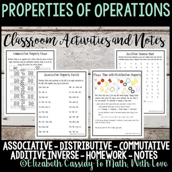 Properties of Operations-Interactive Notebook-Notes-Homework