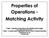 Properties of Operations - Matching Activity