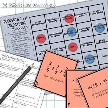 Properties of Operations Unit for Middle School