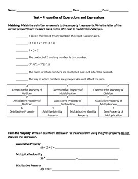 Properties of Operations and Expressions Quiz/Test