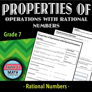 Properties of Operations with Rational Numbers Worksheet by Taylor ...