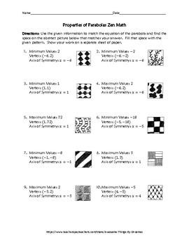 Properties of Parabolas Zen Math