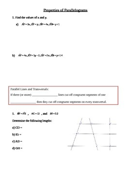 Properties of Paralellograms Guided Notes