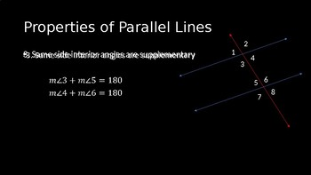 Properties of Parallel Lines - PowerPoint Lesson (3.2)