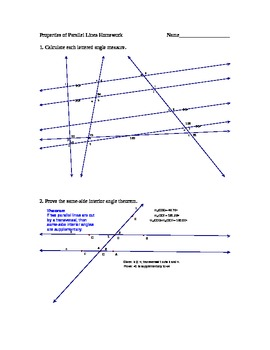 Parallel lines and Transversals Worksheet | Finding the Unknown