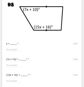 Properties of Parallel Lines- digital assignment for use with Google Forms