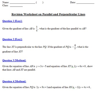 Properties of Parallel and Perpendicular Lines for Grade 8 to 11