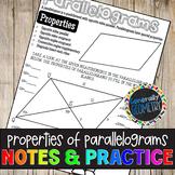 Properties of Parallelograms Doodle Notes & Practice Worksheet; Quadrilaterals