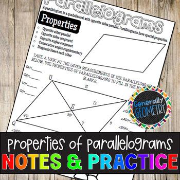 Properties of Parallelograms Doodle Guide & Practice Worksheet; Quadrilaterals