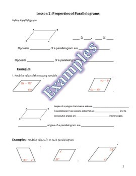 Properties of Parallelograms Guided Notes, Homework, and Powerpoint