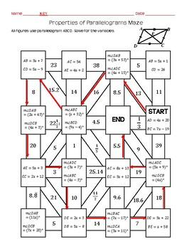 Properties of Parallelograms Maze