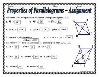 quadrilaterals properties of parallelograms notes and assignment. Black Bedroom Furniture Sets. Home Design Ideas