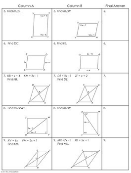 Parallelograms Partner Worksheet