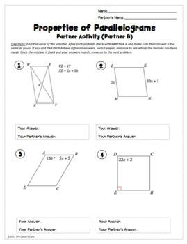 Properties of Parallelograms: Partner Worksheet by Mrs Castro's Class