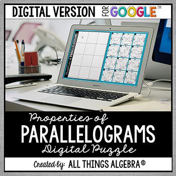 Properties of Parallelograms Puzzle: DIGITAL VERSION (for Google Slides™)