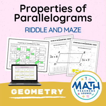 Properties of Parallelograms  - Puzzle Worksheet