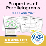 Properties of Parallelograms  - Puzzle Worksheet