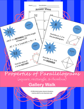 Properties of Parallelograms: including squares, rectangles, and rhombus's