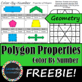 Properties of Polygons Color by Number; Geometry, Concave, Convex FREEBIE!