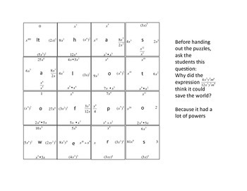 Properties of Powers  4 by 4 Puzzle with riddle