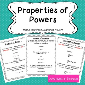 Properties of Powers Cheat Sheets/Reference Sheets with samples and instructions