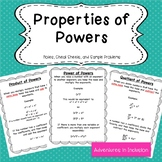 Properties of Powers Cheat Sheets/Reference Sheets with sa