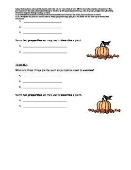 Properties of Pumpkins and Plants!
