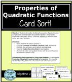 Properties of Quadratic Functions Card Sort