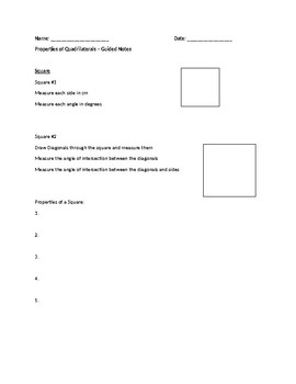 Properties of Quadrilaterals - Interactive and Guided Notes
