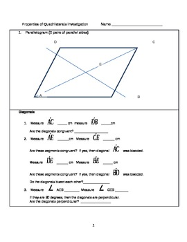 Properties of Quadrilaterals Investigation