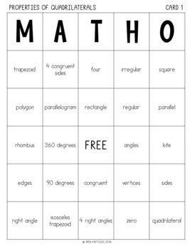 Properties of Quadrilaterals MATHO- Math Bingo Game - 5.G.B.3 and 5.G.B.4