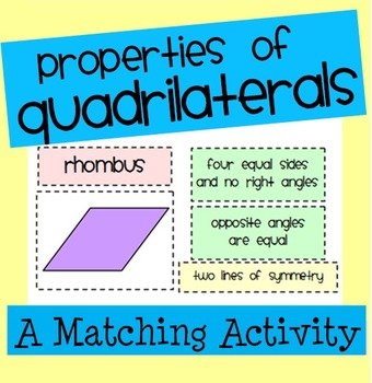 Properties of Quadrilaterals Matching Activity