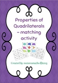 Properties of Quadrilaterals - Matching activity
