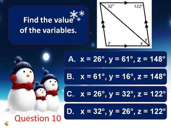 Properties of Quadrilaterals Review (Snowy Standards)