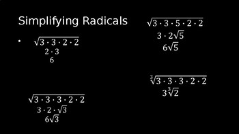 Properties of Radicals - PowerPoint Lesson (5.2)