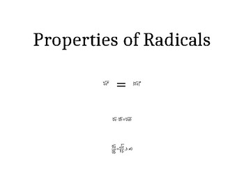 Properties of Radicals Word Wall Labels