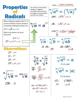 Properties of Radicals Doodle Notes