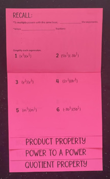 Properties of Rational Exponents (Algebra Foldable)