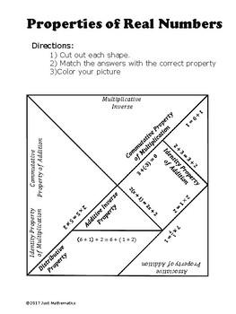 Properties of Real Numbers Tangram