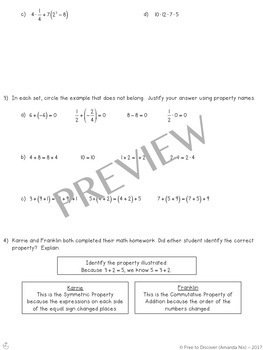 Properties of Real Numbers Notes and Practice (Differentiated)