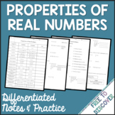 Properties of Real Numbers Notes & Practice   Distance Learning