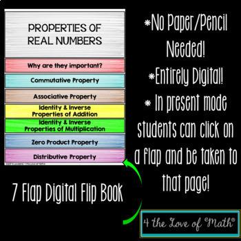 Properties of Real Numbers Digital Interactive Flip Book