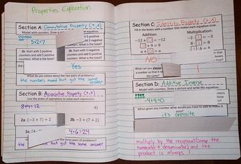 Properties of Real Numbers Exploration Foldable Notes SOL 7.16