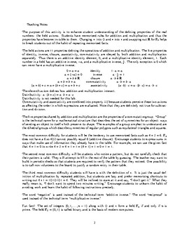 Properties of Real Numbers (Field Axioms) Puzzle