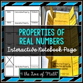 Properties of Real Numbers Foldable Page