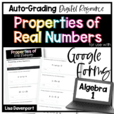 Properties of Real Numbers- Digital Assignment for use with Google Forms