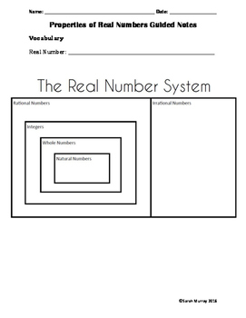 Properties of Real Numbers Guided Notes